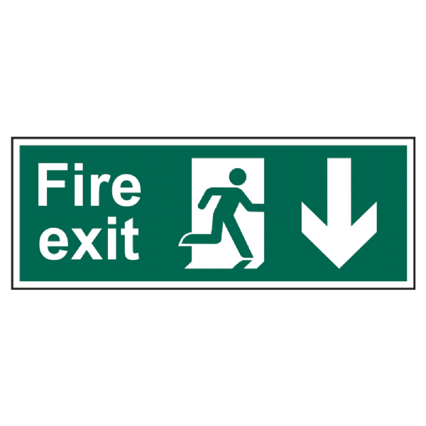Fire Exit Arrow Direction Sign 400mm x 150mm